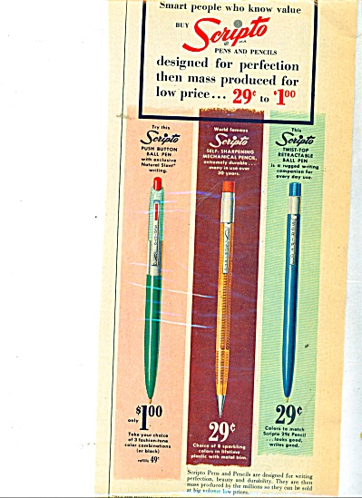 Scripto Ball point pens  ad 1955 (Image1)