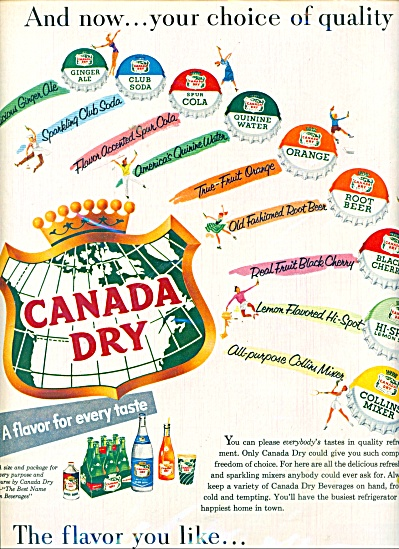 Canada Dry beverages ad 1955 (Image1)