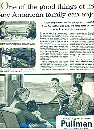 1955 Pullman Train AD Family Traveling ART (Image1)