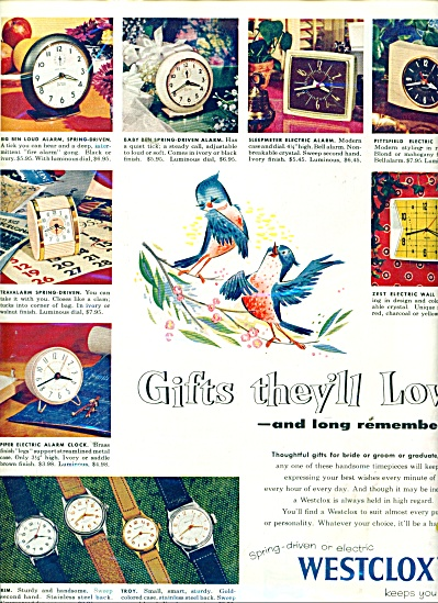 Westclox Clocks Ad 1955