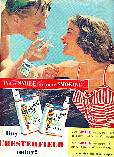 1955 CHESTERFIELD CIGARETTES AD SWIMMING COUP (Image1)