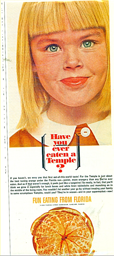 1964 Florida ORANGES AD Girl EATEN A TEMPLE (Image1)