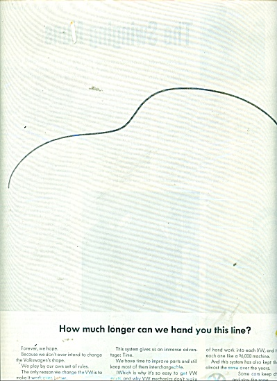 1964 VW Volkswagen HANDLE THE LINE CAR AD (Image1)