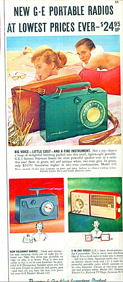 General Electric Portable Radios Ad 1955