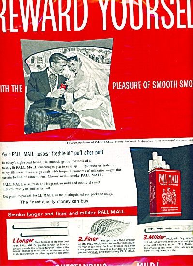 Pall Mall Cigarettes Ad 1955