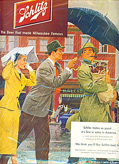 1951 SCHLITZ BEER AD Protect it from RAIN ART (Image1)