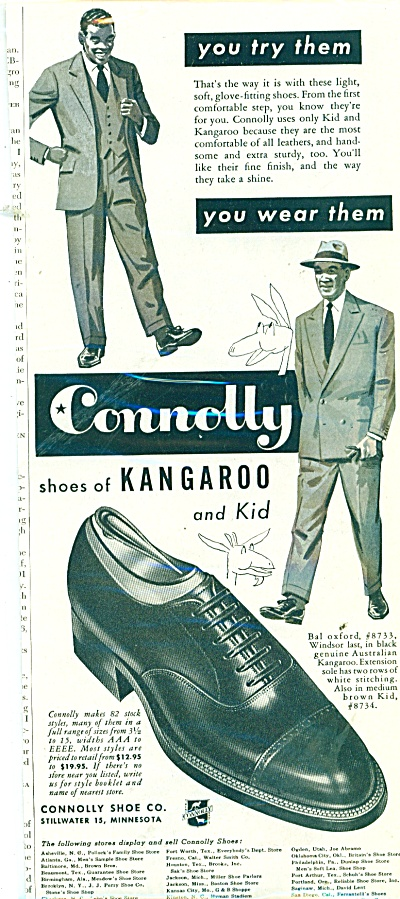 Connolly Shoes Of Kangaroo And Kid Ad 1951
