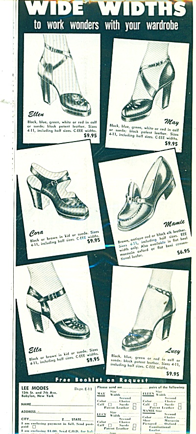 Wide Widths Shoes Ad 1951