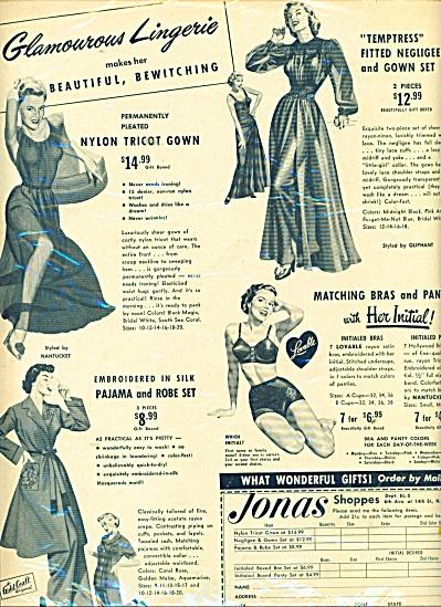 Jonas shoppes.  Glamorous lingerie ad 1951 (Image1)