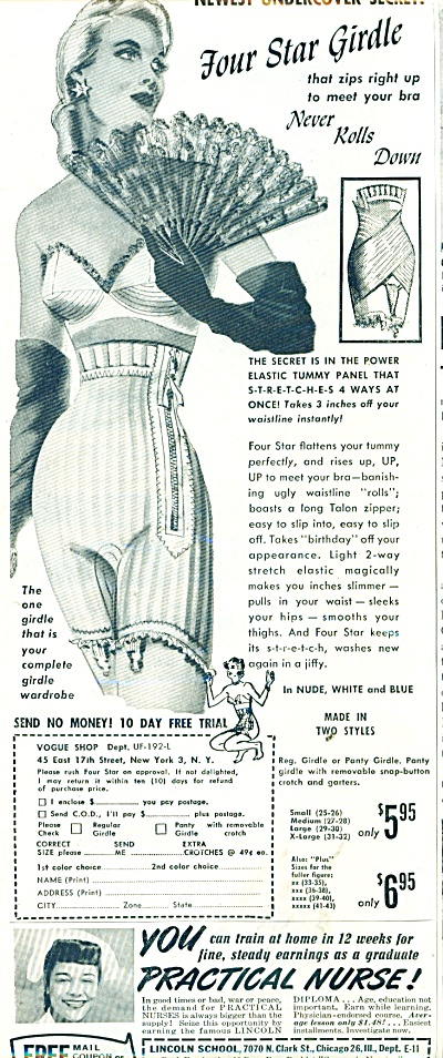 1951 FOUR Star GIRDLE - BRA AD Cool ART (Image1)