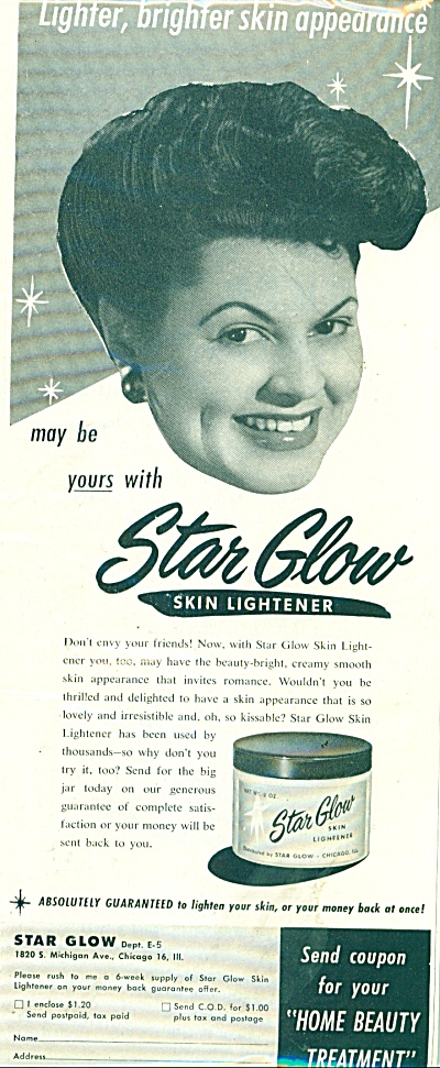 Star Glow Skin Lightener Ad 1951