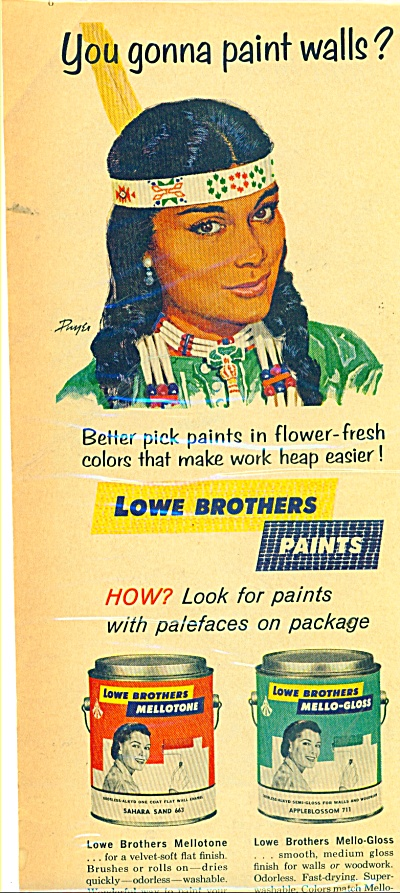 1961 Lowe Bros Paint Ad Native Indian Ad