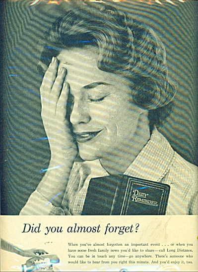 Bell Telephones system ad 1961 ALMOST FORGET (Image1)