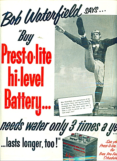 1952 Prestolite battery AD BOB WATERFIELD QB (Image1)