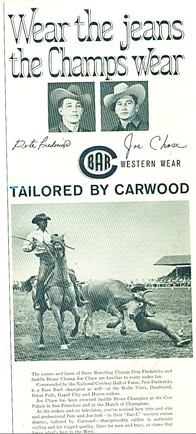 Carwood Mfg. Co. Jeans Ad - 1961