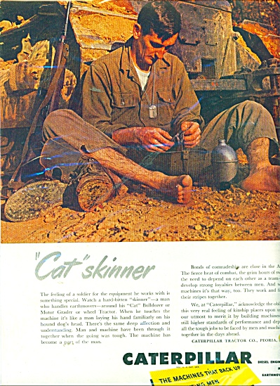 1951 Caterpillar Ad Barefoot Soldier Skinner