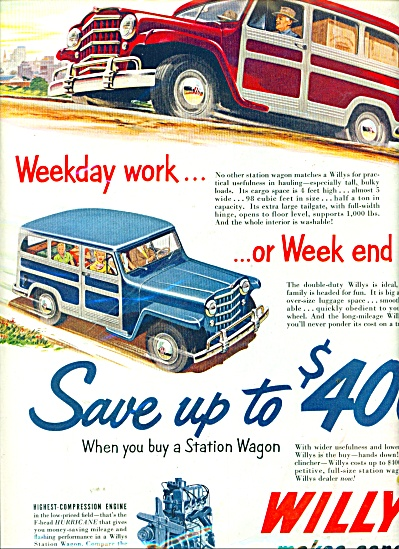 Willys Station wagon automobile ad 1951 (Image1)
