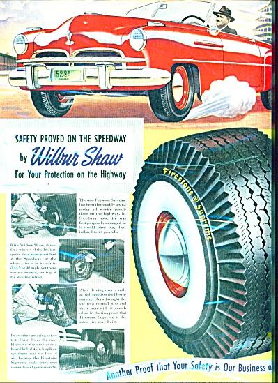 Firestone  tires - WILBUR SHAW  ad 1951 (Image1)