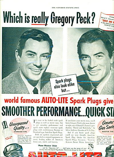 Auto lite spark plugs - GREGORY PECK  ad 1951 (Image1)