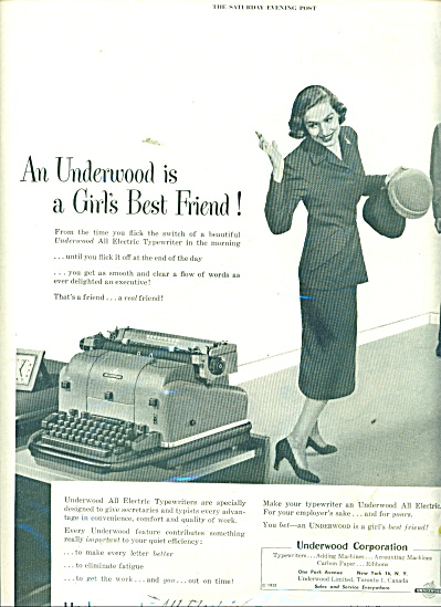 Underwood All Electric Typewriter ad 1951 (Image1)