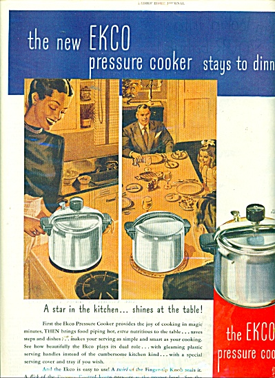 The Ekco Pressure Cooker Ad 1945