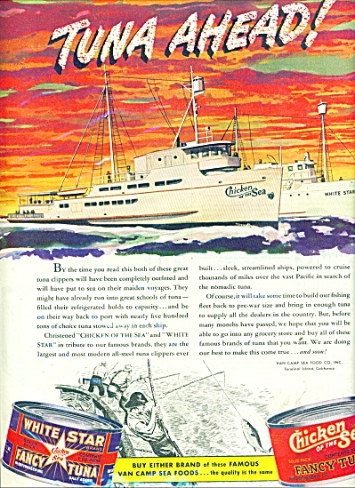 Chicken of the Sea Fancy tuna ad 1945 (Image1)