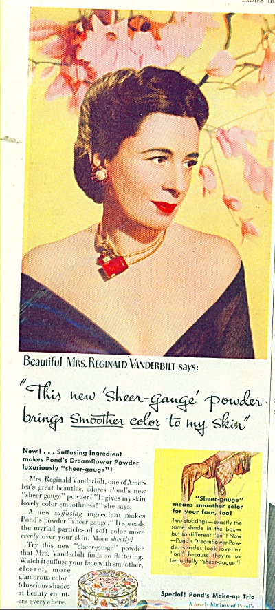 1945 PONDS Dreamflower Powder AD Vanderbilt (Image1)