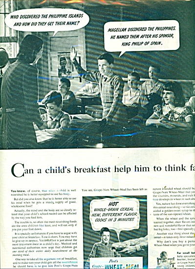 1945 Post Grape Nuts AD TEACHER in CLASSROOM (Image1)