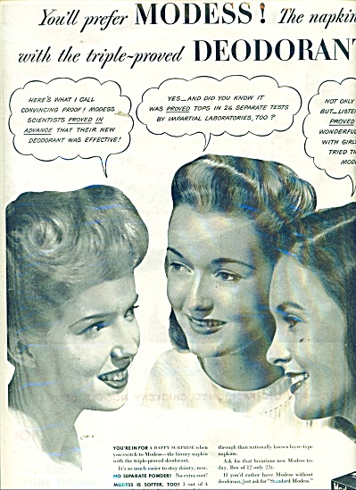 1945 MODESS Napkins AD  3 Beautiful WOMEN (Image1)