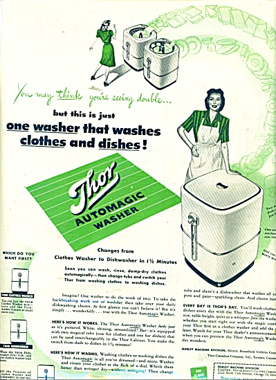 1945 THOR Automatic Washer Washing Machine AD (Image1)