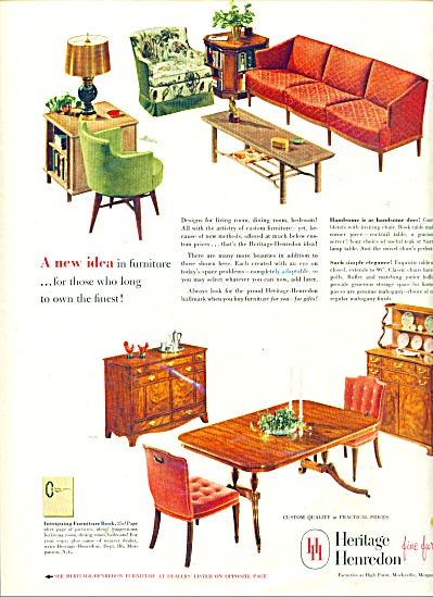 Heritage Henredon fine furniture ad 1952 (Image1)