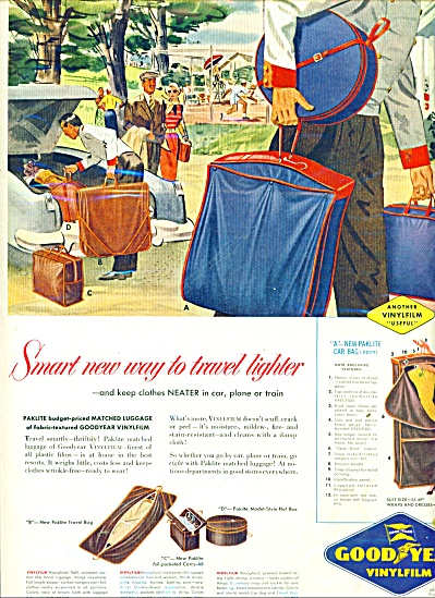 1953 GOODYEAR PAKLITE CAR BAG AD ARTWORK (Image1)