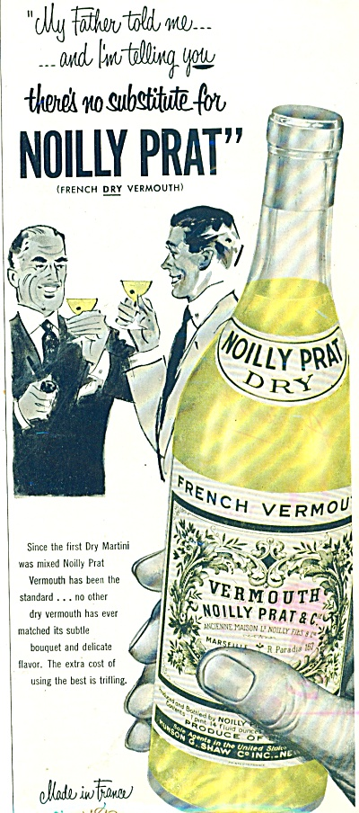 1952 NOILLY PRAT French Dry VERMOUTH AD (Image1)