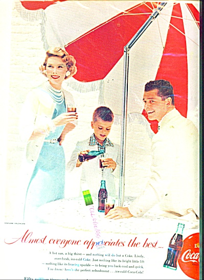 1955 COCA COLA Coke AD Party under Umbrella (Image1)