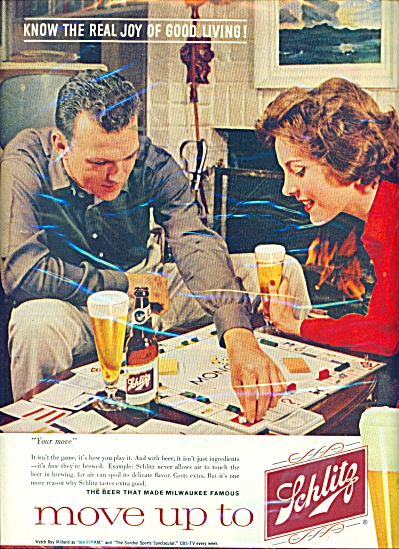 1960 SCHLITZ Beer AD PLAYING MONOPOLY GAME (Image1)
