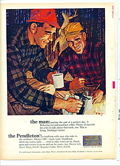 1963  Pendleton WOOL Shirt HUNTER AD TED RAND (Image1)