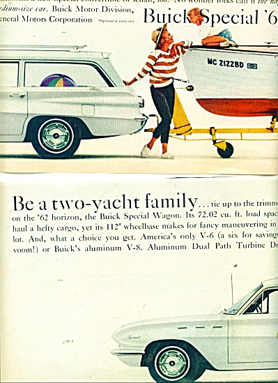 1962 BUICK CAR AD  BE A 2 YACHT FAMILY (Image1)