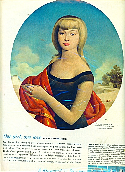 1962 DIAMOND is FOREVER AD DeBeers LEONA WOOD (Image1)