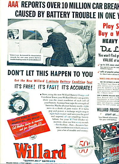 1967 WILLARD Car Battery AD Men Pushing Old C (Image1)