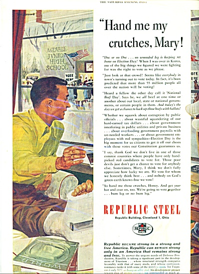 1967 REPUBLIC STEEL VOTE CRUCHES ARTWORK AD (Image1)