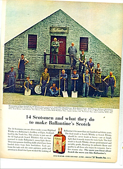 Ballantines scotch ad 1963 ELGIN SCOTLAND 14 MEN (Image1)