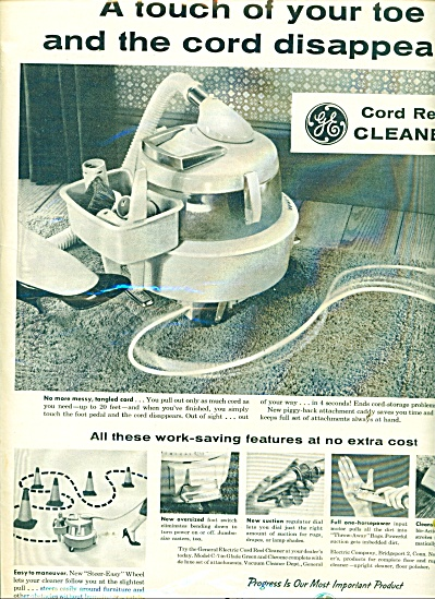 General Electric Ad 1959 Cord Reel Vacuum