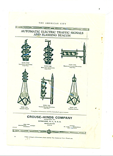 VINTAGE Crouse-Hinds TRAFFIC LIGHTS AD 6 type (Image1)