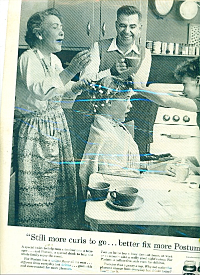 1957 POSTUM AD Family Photo Curling Hair (Image1)