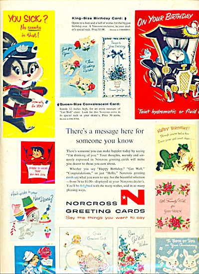 Norcross greeting cards ad 1957 VINTAGE CARDS (Image1)
