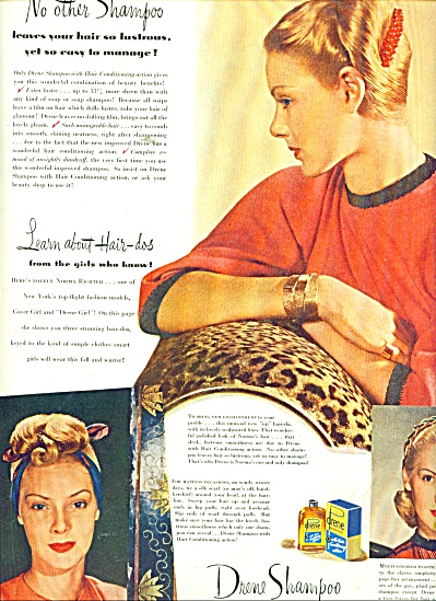 1951 Drene Shampoo AD NORMA RICHTER COVER GIR (Image1)
