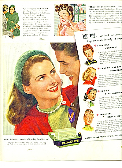 1945 Palmolive SOAP AD - Lady and Soldier (Image1)
