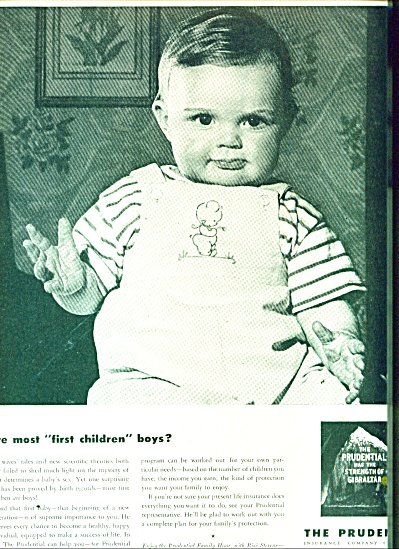 1947 Prudential Insurance AD FIRST BABY BOY (Image1)