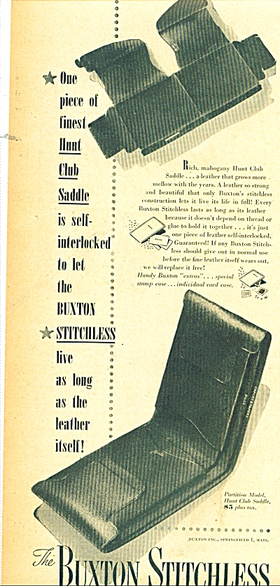 The Buxton Stitchless Ad 1947