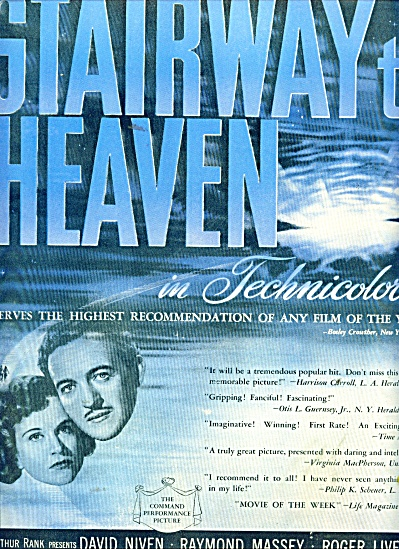 1947 Stairway To Heaven David Niven Movie Ad